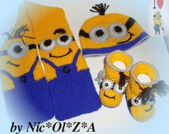 Winter, Spring, Autum Baby Minion HAT, SCARF & BOOTIES Handmade Crochet Yellow Blue 3 -6 Months