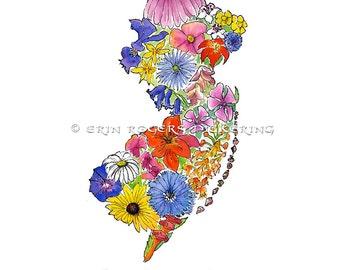 The Garden State NJ map native wildflowers 8x10 art print