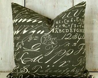 Modern Farmhouse Pillow / Black Pillow Cover / Charcoal Alphabet / Black and Cream Script / Dark Grey Chalkboard Pillow