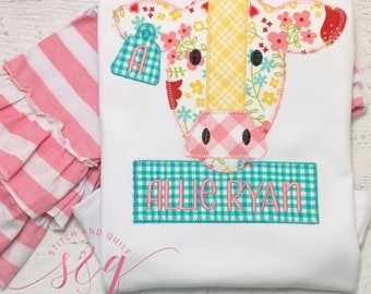 Vintage Cow Girl's outfit, Cow shirt,  Farm Cow shirt, Patchwork Cow shirt