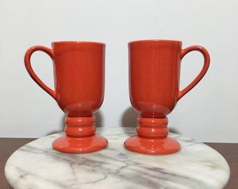 Vintage Red Mugs    Coffee Mugs    Bright Red    Ceramic  Mugs