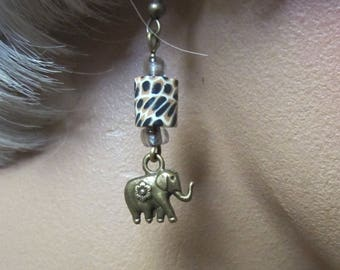 Elephant Earrings Animal Print Safari Earrings Trunk Up for Good Luck Antique Brass