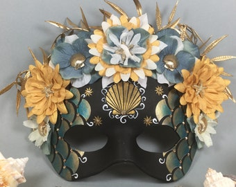 Deluxe Mermaid Flower Crown Shell Black, blue, and Gold Leather Masquerade Mask, OOAK