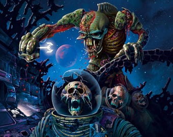 """IRON MAIDEN Zombies Painting Giclee Canvas 16""""x20"""" with mat frame"""