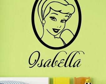 Custom Name Cinderella Wall Sticker Personalized Vinyl Decal Disney Princess Art Decorations for Home Bedroom Girls Room Cartoon Decor cind3