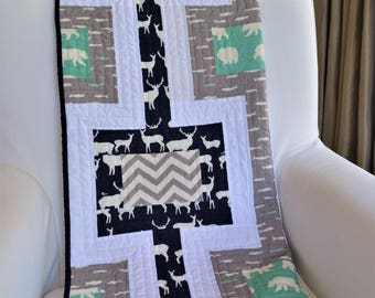 Handmade Modern Woodland Crib Quilt - Organic Birch Fabric - Bear Camp, Elk Grove, Feather River & Mod Basics - Navy, Grey, Mint Green