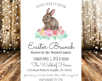 Bunny Floral Easter Brunch Invitation