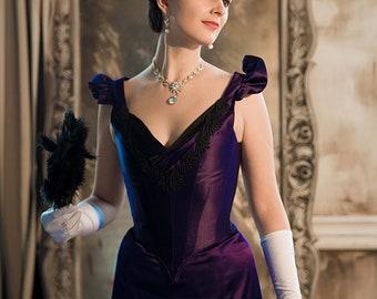 Purple 1890s Dress, Gothic Victorian Gown