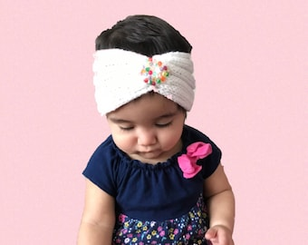 Crochet white headband baby,toddler,