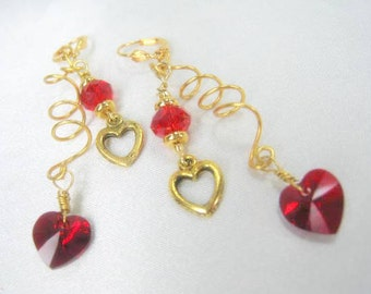 Swarovski HeartRed Hot Earrings on Cool Curly Gold wire and gold leverbacks