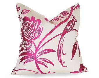 Bird Pillow, Bird Pillow Covers, Pink Throw Pillows, Hot Pink Pillow, Floral Cushion, Cream White Fuchsia, Spring, Designer, Bird Decor, NEW