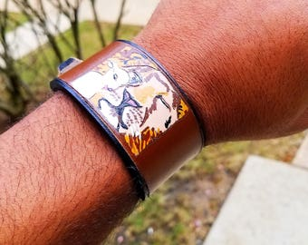 The Lion and The Lamb - Peace: Handmade Leather Bracelet (Spiritual Gift)