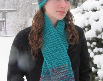 Hat Hand Knitted Adult Teal Peacock Garter Stitch Size Large