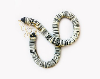 Paper black and white necklace with a fine and dressy brass wire closure, paper jewelry, book paper necklace