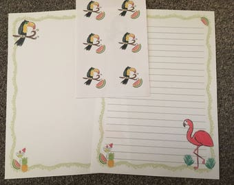 Toucan set 25 sheets of letter writing paper & 6 envelope seals