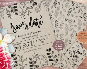 Kraft Save the Date, Save the Date DIY Rustic Wedding Invitation Printable Wedding Save the Date Printable save-the-date Editable PDF 006