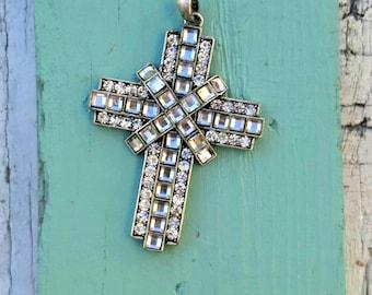 Princess Cut Crystal Cross Pendant, Large CROSS, Religious PeNdant, Christian PeNDant, Destash
