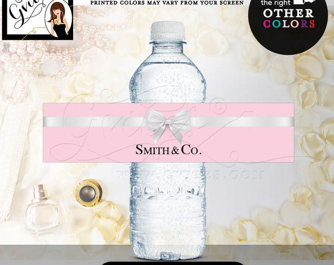"""Name & Co Water Bottle Labels, bridal shower, Birthday Labels Stickers breakfast at {REALISTIC SATIN RIBBON} 8x2""""/5 Per Sheet. Digital File"""
