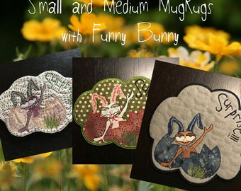 3 ITH Small and Medium size MugRug Designs with a Surprise: Mr. Funny Bunny, Machine embroidery design ITH, Instant Download