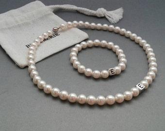 Personalised flowergirl jewelry, pearl bracelet and necklace set, flowergirl jewelry, wedding jewelry, wedding accessories