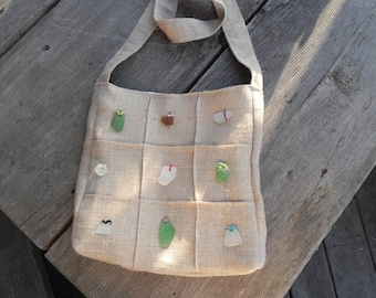 Sea glass inlay linen shoulder bag