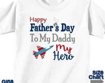Baby Little Boy Girl Happy Father's Day My Daddy My Hero Military Air Force Jet T-shirt Shirt or Bodysuit Navy Red Grey