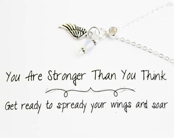 Charm Necklace - Angels Wing Charm Necklace - Support Guidance Protection - Stronger than you Think - SCC892