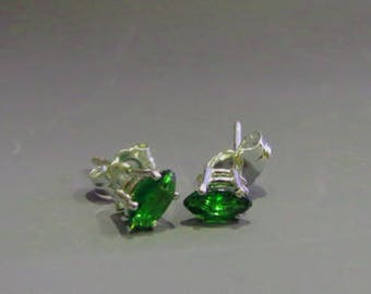 Chrome Diopside Earrings - Marquise Chrome Diopside Post Earrings - Sterling Silver Posts