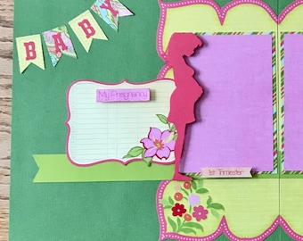 Premade Pregnancy Expecting Scrapbook Pages, 2 Page Layout, 12 x 12, Pregnancy Expecting Album Pages, Expecting Layouts