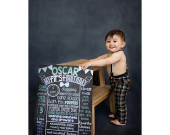 Boy First Birthday Chalkboard Poster Sign Baby's First Birthday Poster Girl or Boy You Pick Colors