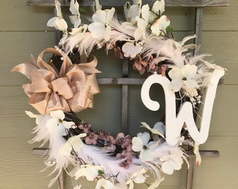 Wreath: Twinkle lights and Feathers