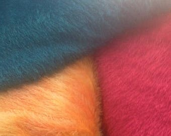 Furry fleece fabric. Rose, turquoise, tangerine Halloween costumes 60 inches wide