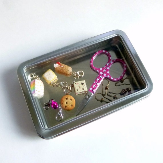 """Hinged Notions Tin with Clear Window Top - 5.5"""" by 3.7"""" Rectangular Hinged Window Tin - Knitting Notions Storage Case"""