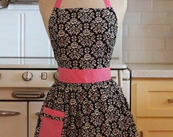 Apron Retro Black and White Floral Damask with Pink CHLOE