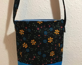 Blue yellow red flowers Purse with no coin purse