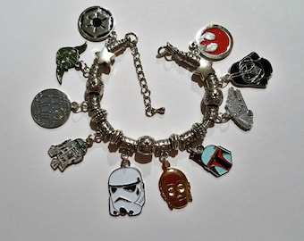 Classic Star Wars Charm Bracelet with Rebel Alliance Logo