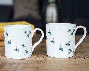 Mug - Bees - Bone China with Honey Bee design - Helen Round - Helen Round Designs