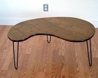 Kidney Bean Coffee Table  Mid century Modern design  Eames Era Atomic