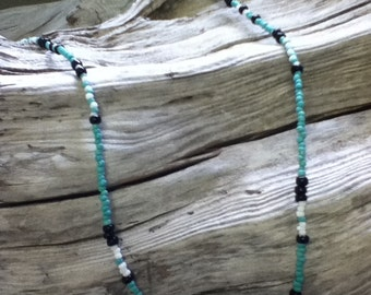 Handmade Turquoise Seed Bead Necklace