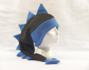 Chapeau noir bleu hommes femmes garçons dinosaure oreille Rabat Tuque Dragon par Ningen couvre-chefs