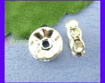 Set of 10 beads Rondelle Crystal rhinestone studded GUN Metal Grey 8 mm