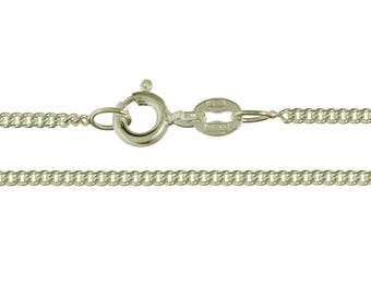 """925 Sterling Silver Fine 1.8mm Italian made Flat Diamond Cut Curb Chain 16"""" 18"""" 20""""  Inch, All Sizes, Necklace"""