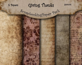 Giving Thanks - Digital Scrapbooking Papers - 5 Papers -  8.5 x 11  Inches - INSTANT DOWNLOAD -2.50