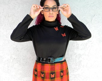 Hippy Chic - Vintage 60s Mod Dress w Red, Orange, Black Plaid Butterfly Skirt & Black Bodice w appliqued Butterflies M. Jonathan Logan