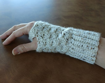 Crochet Wrist Warmers Fingerless Gloves Ribbed Cuff for Working