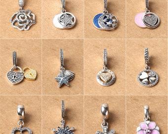 1pc Thai Silver Big Hole Charm Dangle Bead, Sterling Silver Flower Europe Bead (CY091)