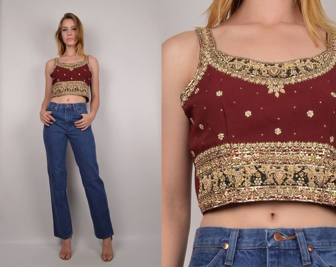 SALE Intricately Beaded India Crop