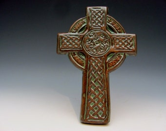 Celtic Cross with Knots and Motifs Irish Gaelic Stoneware Baptism First Communion Confirmation Teacher Minister