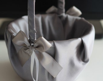 Gray Satin flower girl basket & ring bearer pillow set \ Gray wedding flower basket + wedding ring pillow set \ Gray pillow basket set