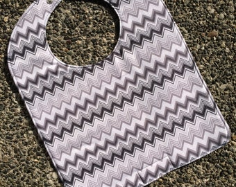 TODDLER Bib: Grey Chevrons and Dots, Personalization Available